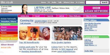 BBC Asian Network homepage promoting the Top 40 soundtracks