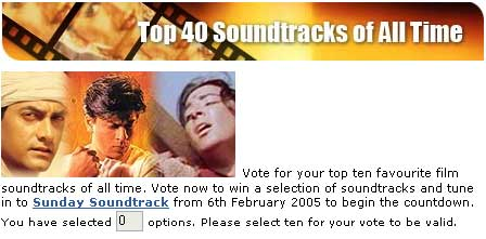 BBC Asian Network Top 40 Soundtracks vote