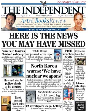 Front page of The Independent - Here Is The News You May Have Missed