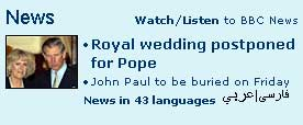 Coverage of the Pope's death on BBC.co.uk