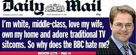 Daily Mail front page promoting Quentin Letts anti-BBC article