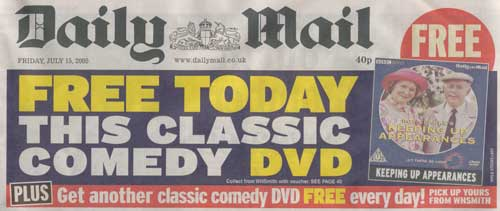 2nd Daily Mail cover today, this time with an advert for a free BBC Worldwide DVD