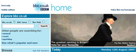 One of the nominated paintings on the BBC homepage