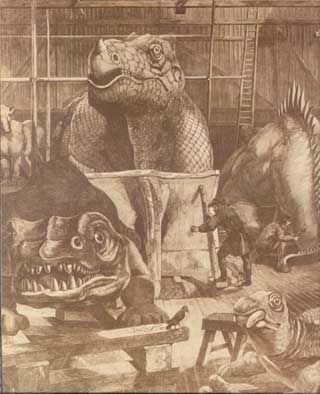 Etching of how dinosaurs were imagined in the 1850s