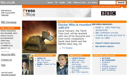 BBC Press Office site announcing the return of K9