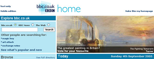 BBC Homepage promotion for the Today programme's Greatest Painting in Britain vote