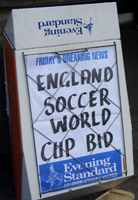 England Soccer World Cup Bid Poster from the Evening Standard