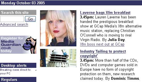 A Dalek on the mediaguardian homepage today