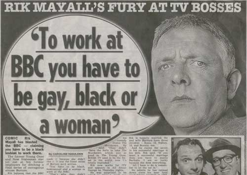 Rik Mayall in The Sun