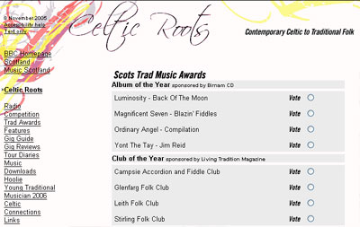 Scots Trad Music Awards on the BBC Celtic Roots site