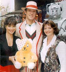 Publicity still for Dimensions in Time featuring Peter Davison, Nicola Bryant and Sarah Sutton
