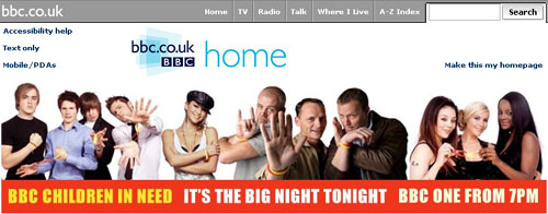 Children in Need 'jumbo' format promo on the BBC homepage