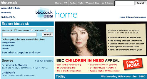 Children in Need semi-permanent panel on the BBC homepage