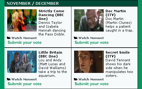 November and December's TV Moments nominations