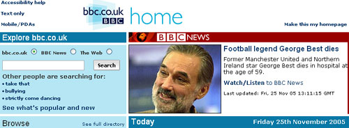 The death of George Best featured on the BBC homepage
