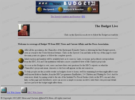 Screengrab of the BBC's online coverage of the 1995 Budget