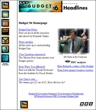 Screengrab of the BBC's online coverage of the 1996 Budget