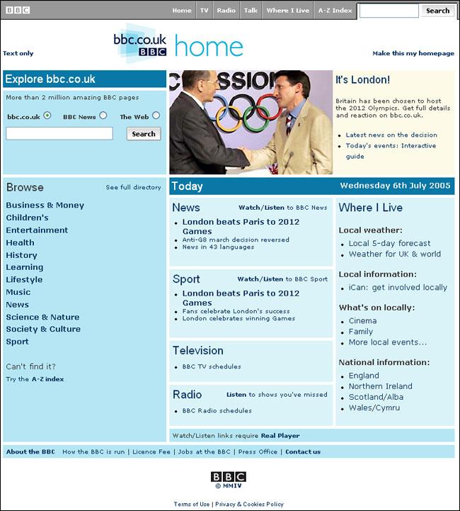 BBC lite homepage
