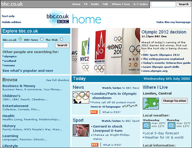 BBC homepage Olympic preview