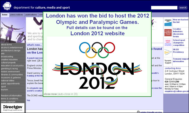 DCMS website Olympic Decision splash