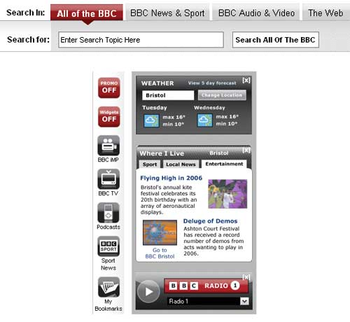Search box and widgets from BBC v2006
