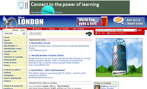 This Is London search results page