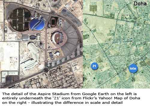 Comparison of the Aspire stadium on Google Earth and Flickr's map