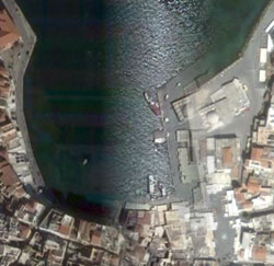 Chania harbour double vision on Google Earth