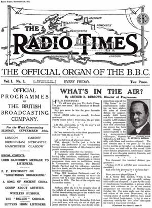 Archive Radio Times front page