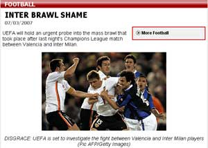 The Mirror covers the Inter brawl