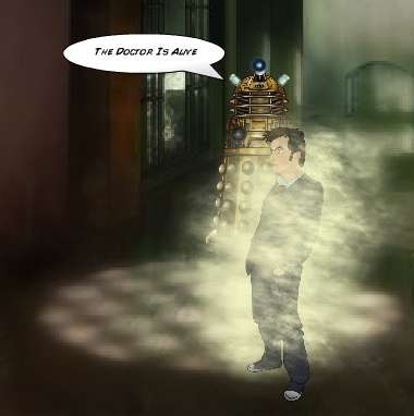 A comic Dalek menaces the Doctor