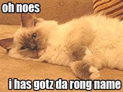 Oh noes I gotz da rong name