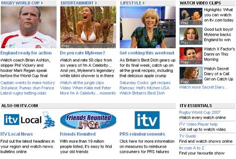 ITV website homepage