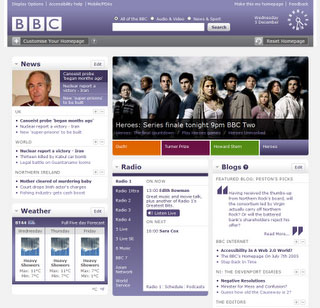 BBC homepage beta screenshot