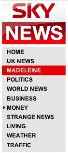 Sky News navigation with Madeleine link
