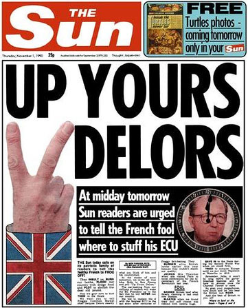The Sun's 'Up Yours, Delors!' front page
