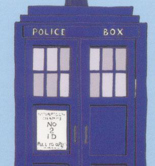No2ID on the cartoon TARDIS door