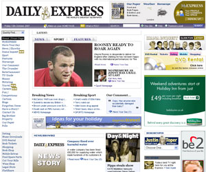 The results of a colour-blindness test on the Daily Express homepage