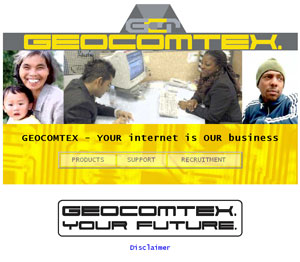 Geocomtex website screenshot from 2005
