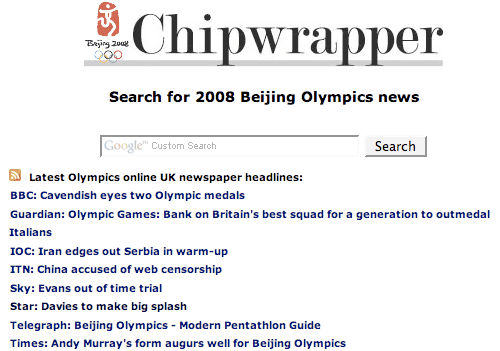 Olympic Chipwrapper homepage