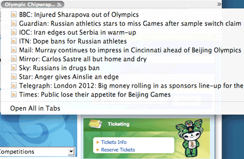 Olympic Chipwrapper Live Bookmark