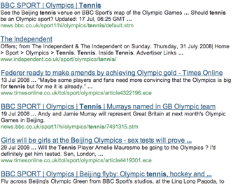 Olympic Chipwrapper tennis search results