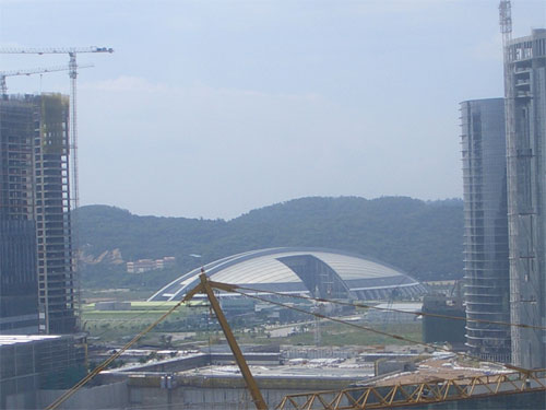 Macau sports dome flanked by casino construction