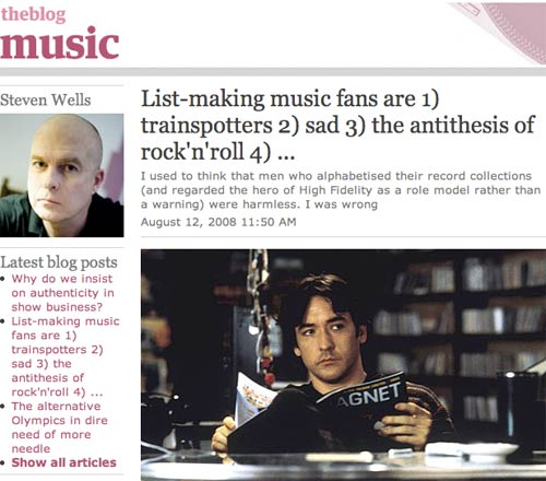 20080815 Steven Wells on the Guardian's Music blog