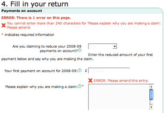 HMRC application error messages