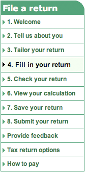 HMRC Tax Form navigation