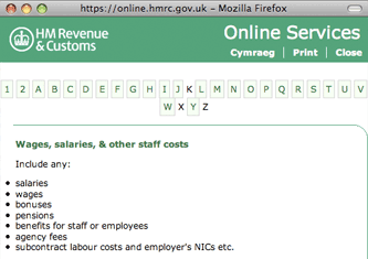 HMRC contextual help pop-up