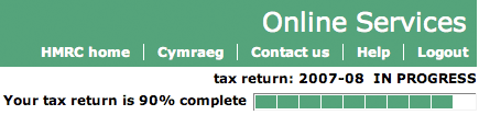 HMRC tax return progress indicator