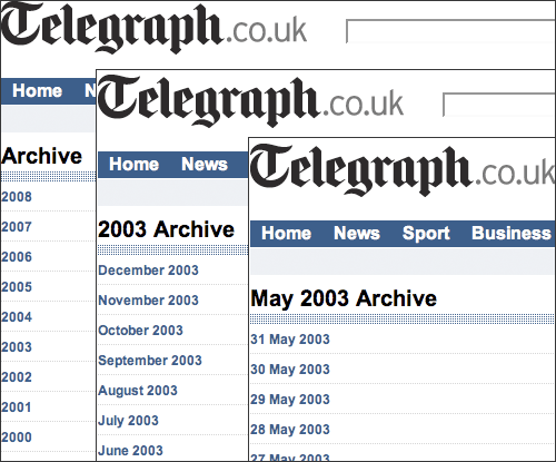 The Telegraph's rather dull archive navigation
