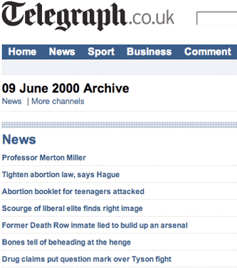 Telegraph archive for 9th June 2008